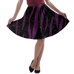 Skin3 Black Marble & Purple Leather (r) A Line Skater Skirt by trendistuff