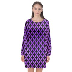 Circles3 Black Marble & Purple Watercolor (r) Long Sleeve Chiffon Shift Dress