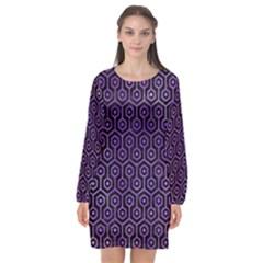 Hexagon1 Black Marble & Purple Watercolor (r) Long Sleeve Chiffon Shift Dress