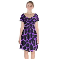 Skin1 Black Marble & Purple Watercolor Short Sleeve Bardot Dress