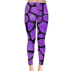 Skin1 Black Marble & Purple Watercolor (r) Leggings  by trendistuff