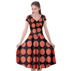 Circles1 Black Marble & Red Brushed Metal (r) Cap Sleeve Wrap Front Dress by trendistuff