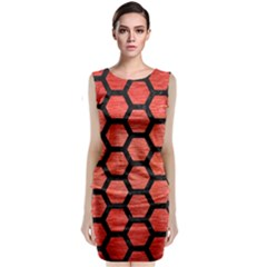 Hexagon2 Black Marble & Red Brushed Metal Classic Sleeveless Midi Dress by trendistuff