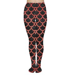 Scales1 Black Marble & Red Brushed Metal (r) Women s Tights by trendistuff