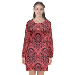 Damask1 Black Marble & Red Colored Pencil Long Sleeve Chiffon Shift Dress  by trendistuff