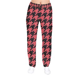 Houndstooth1 Black Marble & Red Colored Pencil Drawstring Pants by trendistuff