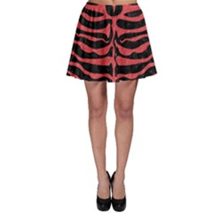 Skin2 Black Marble & Red Colored Pencil (r) Skater Skirt by trendistuff