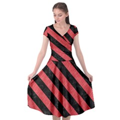 Stripes3 Black Marble & Red Colored Pencil Cap Sleeve Wrap Front Dress by trendistuff