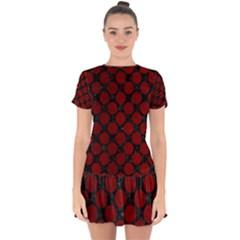 Circles2 Black Marble & Red Grunge (r) Drop Hem Mini Chiffon Dress by trendistuff
