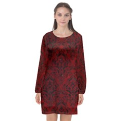 Damask1 Black Marble & Red Grunge Long Sleeve Chiffon Shift Dress  by trendistuff