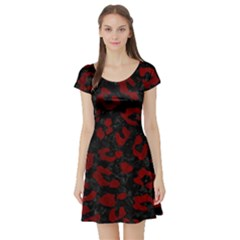 Skin5 Black Marble & Red Grunge Short Sleeve Skater Dress by trendistuff