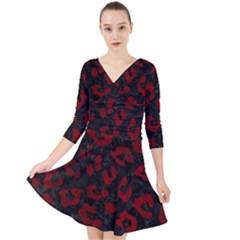 Skin5 Black Marble & Red Grunge Quarter Sleeve Front Wrap Dress by trendistuff