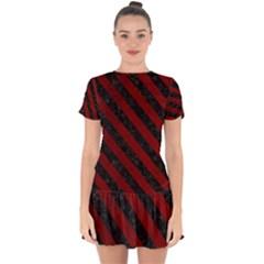 Stripes3 Black Marble & Red Grunge Drop Hem Mini Chiffon Dress by trendistuff
