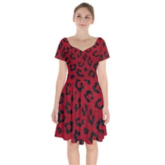 Skin5 Black Marble & Red Leather (r) Short Sleeve Bardot Dress by trendistuff