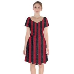 Stripes1 Black Marble & Red Leather Short Sleeve Bardot Dress by trendistuff