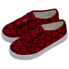 Tile1 Black Marble & Red Leather Kids  Classic Low Top Sneakers by trendistuff