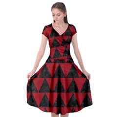 Triangle2 Black Marble & Red Leather Cap Sleeve Wrap Front Dress by trendistuff