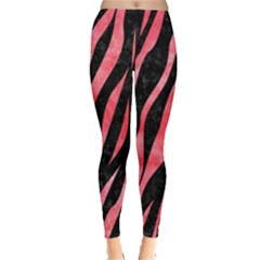 Skin3 Black Marble & Red Watercolor (r) Leggings  by trendistuff
