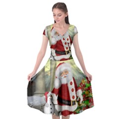 Sanata Claus With Snowman And Christmas Tree Cap Sleeve Wrap Front Dress by FantasyWorld7
