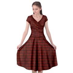 Brick1 Black Marble & Red Wood Cap Sleeve Wrap Front Dress by trendistuff