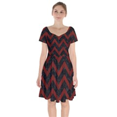 Chevron9 Black Marble & Red Wood (r) Short Sleeve Bardot Dress by trendistuff