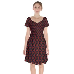 Circles3 Black Marble & Red Wood Short Sleeve Bardot Dress by trendistuff