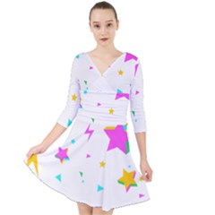 Star Triangle Space Rainbow Quarter Sleeve Front Wrap Dress	 by Alisyart