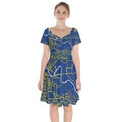 Map Art City Linbe Yellow Blue Short Sleeve Bardot Dress