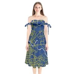 Map Art City Linbe Yellow Blue Shoulder Tie Bardot Midi Dress