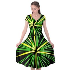 Fireworks Green Happy New Year Yellow Black Sky Cap Sleeve Wrap Front Dress