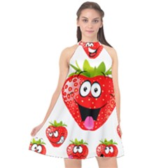 Strawberry Fruit Emoji Face Smile Fres Red Cute Halter Neckline Chiffon Dress
