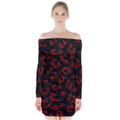 Skin5 Black Marble & Red Wood Long Sleeve Off Shoulder Dress by trendistuff