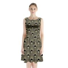 Art Deco Fan Pattern Sleeveless Waist Tie Chiffon Dress by 8fugoso