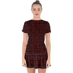 Woven1 Black Marble & Red Wood (r) Drop Hem Mini Chiffon Dress by trendistuff