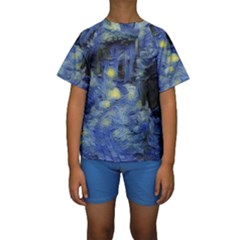 Van Gogh Inspired Kids  Short Sleeve Swimwear by 8fugoso