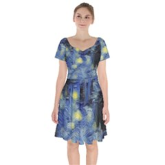 Van Gogh Inspired Short Sleeve Bardot Dress by 8fugoso
