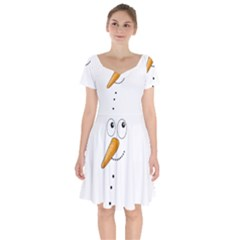 Cute Snowman Short Sleeve Bardot Dress