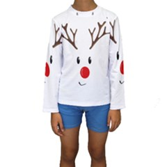 Cute Reindeer  Kids  Long Sleeve Swimwear by Valentinaart