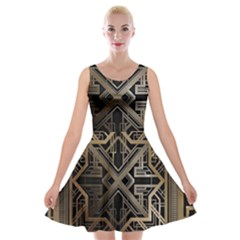 Gold Metallic And Black Art Deco Velvet Skater Dress by 8fugoso