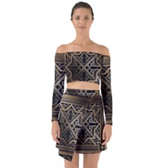 Gold Metallic And Black Art Deco Off Shoulder Top With Skirt Set by 8fugoso