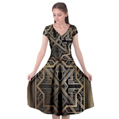 Gold Metallic And Black Art Deco Cap Sleeve Wrap Front Dress by 8fugoso