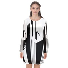 Tower City Town Building Black White Long Sleeve Chiffon Shift Dress  by Jojostore