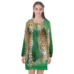 Animals Cheetah Long Sleeve Chiffon Shift Dress  by Jojostore