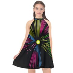Fireworks Pink Red Yellow Green Black Sky Happy New Year Halter Neckline Chiffon Dress  by Jojostore