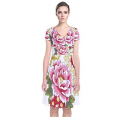 Butterfly Flowers Rose Short Sleeve Front Wrap Dress by Jojostore