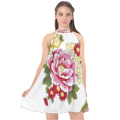 Butterfly Flowers Rose Halter Neckline Chiffon Dress