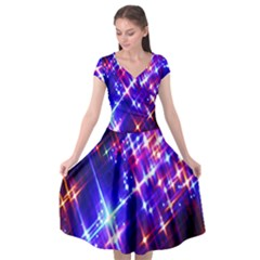 Star Light Space Planet Rainbow Sky Blue Red Purple Cap Sleeve Wrap Front Dress by Jojostore