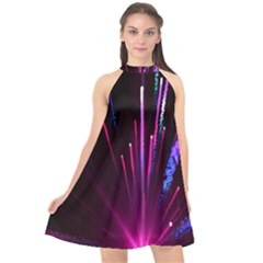 Happy New Year City Semmes Fireworks Rainbow Red Blue Purple Sky Halter Neckline Chiffon Dress