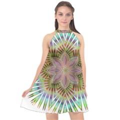 Star Flower Glass Sexy Chromatic Symmetric Halter Neckline Chiffon Dress