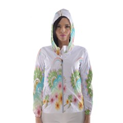 Wreaths Sexy Flower Star Leaf Rose Sunflower Bird Summer Hooded Wind Breaker (women) by Mariart